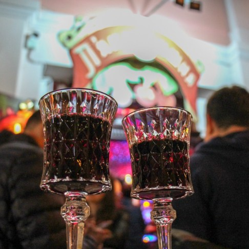 Two glasses of cherry liqueur at Drunk Cherry in Lviv, Ukraine
