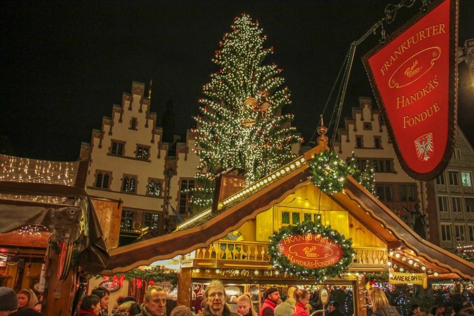 Market stalls and Christmas Tree on Romerberg main square in Frankfurt, Germany