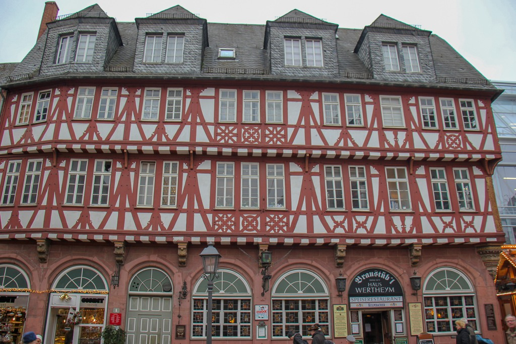 Original half-timber house, haus Wertheym, in Old Town Frankfurt, Germany