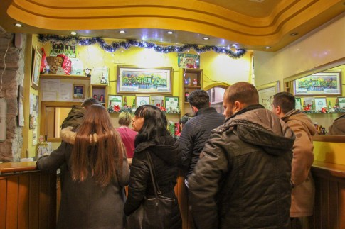 Crowd lined up for cevapi at Kantun Paulina in Split, Croatia