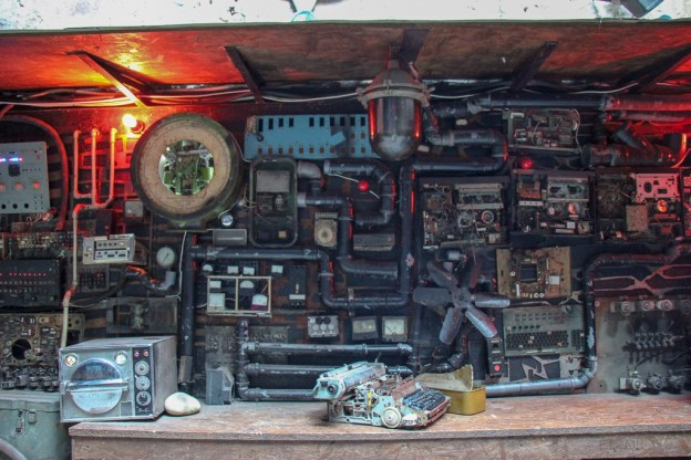 Antique gadgets and gear at Kryivka Bar in Lviv, Ukraine