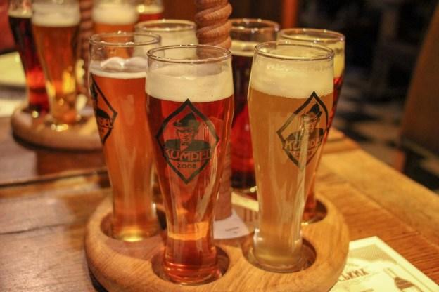 Sample tray of fresh beer at Kumpel Brewery in Lviv, Ukraine