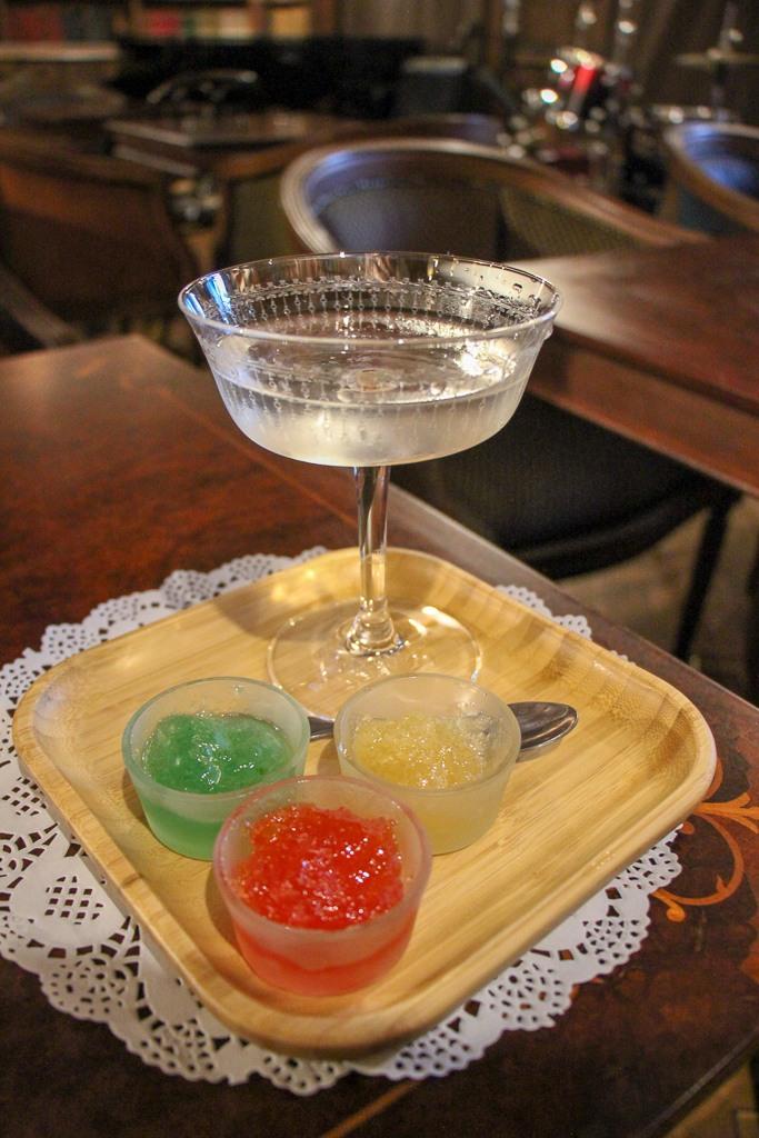 Creative cocktail with jam enhancers at Libraria Speakeasy in Lviv, Ukraine