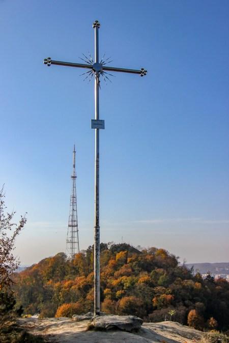 Cross marks the top of Lion Hill in Lviv, Ukraine