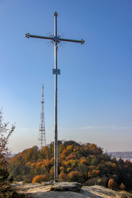 Cross marks the top of Lion Hill in Lviv, Ukraine