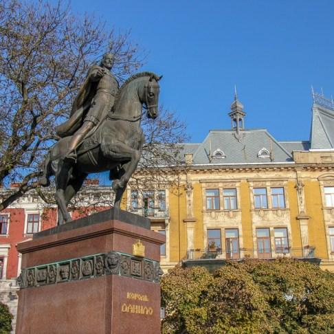 King Danylo Halytskyi statue in Lviv, Ukraine