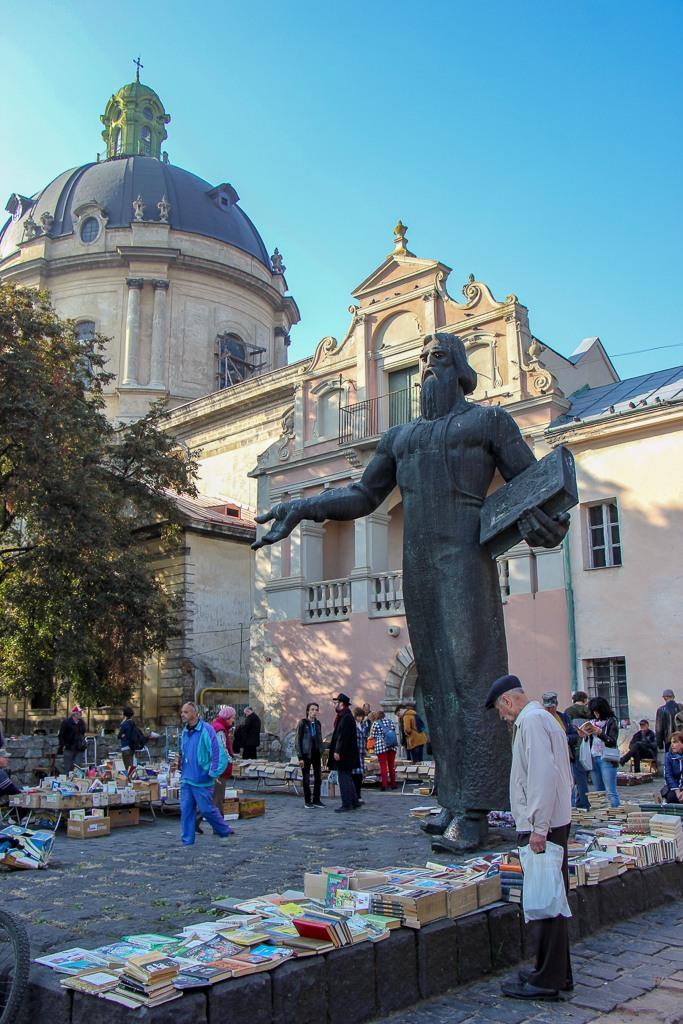 Flea Market of books and antiques in Muzeina Square in Lviv, Ukraine