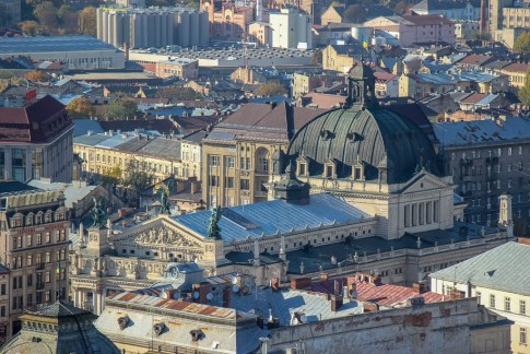 View of the Opera House from the Town Hall Clock Tower viewing platform in Lviv, Ukraine