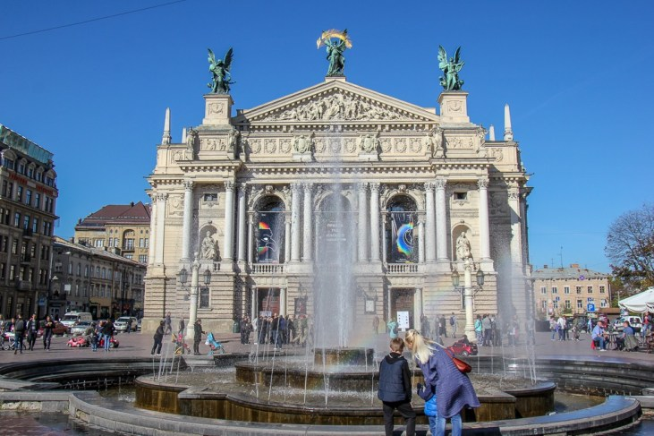 Opera House and fountain in Lviv, Ukraine