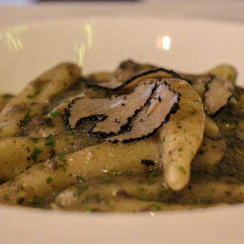 Handmade pasta with truffle sauce and sliced truffles at Articok Restaurant in Split, Croatia