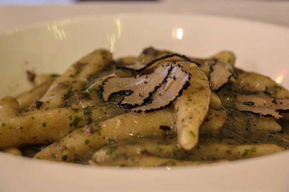 Handmade pasta with truffle sauce and sliced truffles at Articok Restaurant in Split, Croatia