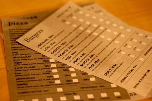 Order form menus at Plan B Pub in Split, Croatia