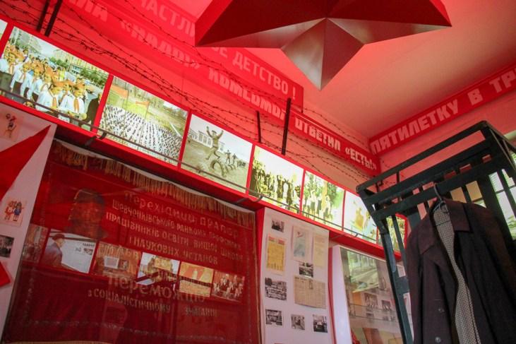 Propaganda Room display at Lonsky Prison Museum in Lviv, Ukraine