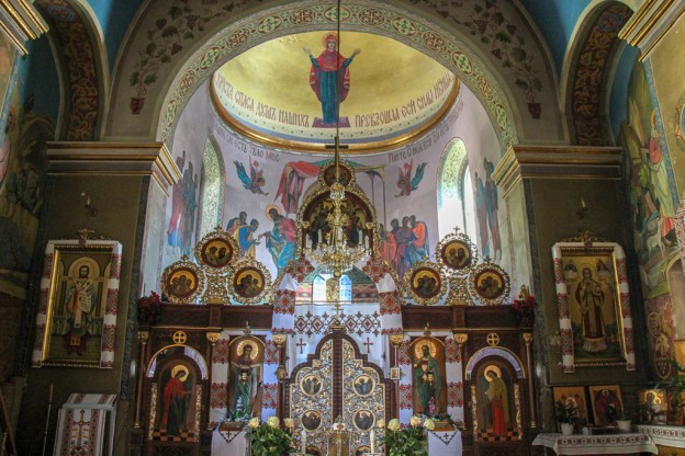 Ornate altar at historic St. Nicholas Church in Lviv, Ukraine