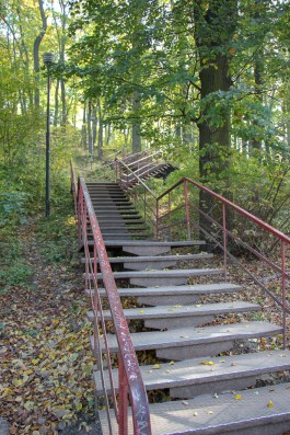 Staircase that leads to High Castle lookout platform in Lviv, Ukraine
