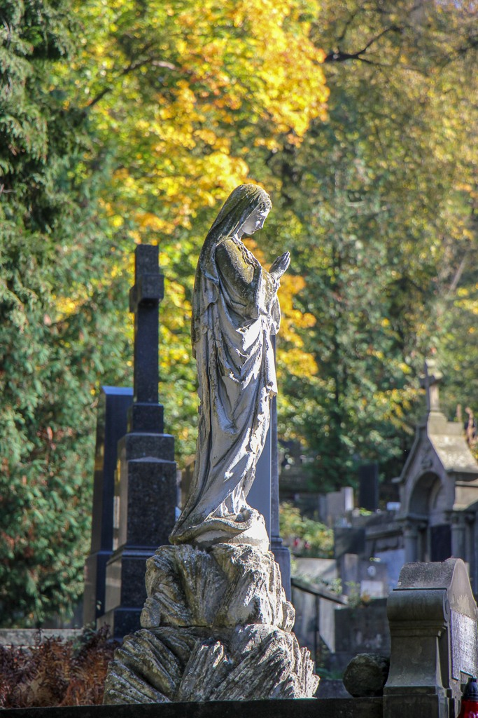 A headstone statue at Lychakiv Cemetery in Lviv, Ukraine