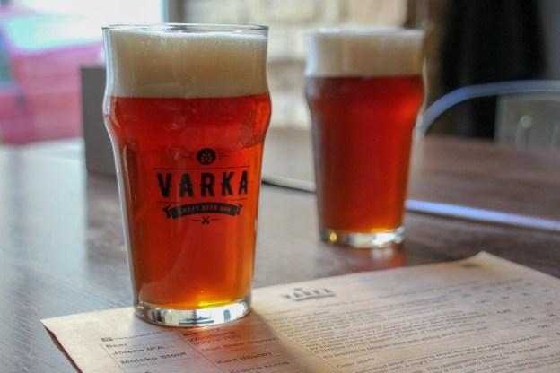 Pints of craft beer at the modern Varka Craft Beer Bar in Lviv, Ukraine