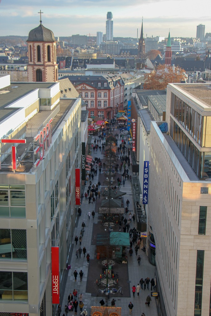Street views from Galeria Kaufhof Mall open-air deck in Frankfurt, Germany