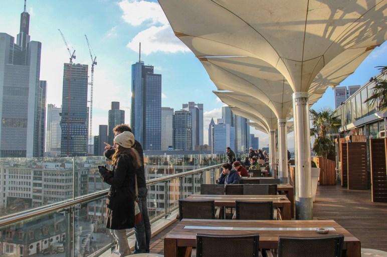 Open-air viewing platform on top floor of Galeria Kaufhof in Frankfurt, Germany