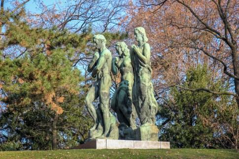 Statue in Wallanlagen green belt park in Frankfurt, Germany