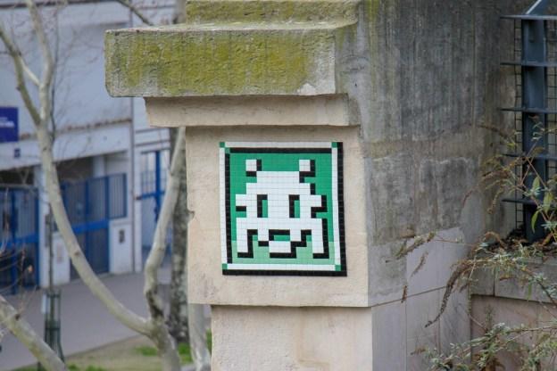 Tiled Street Art by famous artist, Invader in Paris, France