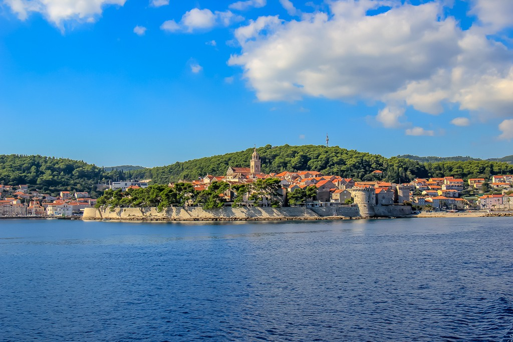Water views of lovely Korcula Town, Croatia