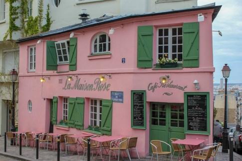 La Maison Rose cafe in Montmartre district in Paris, France