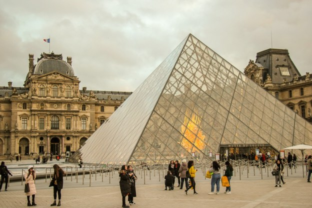 Glass Louvre Pyramid museum entrance in Paris, France