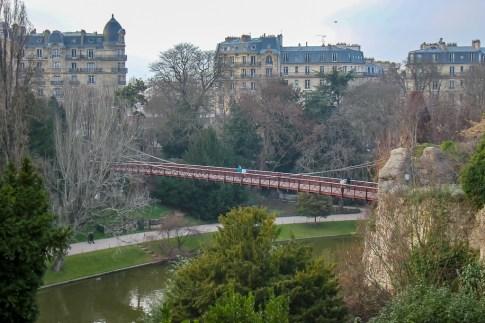 Bridge at Parc des Buttes-Chaumont in Paris, France
