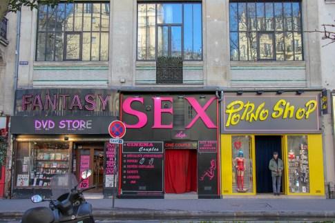 Sex shops on Boulevard de Clichy in Pigalle, Paris, France