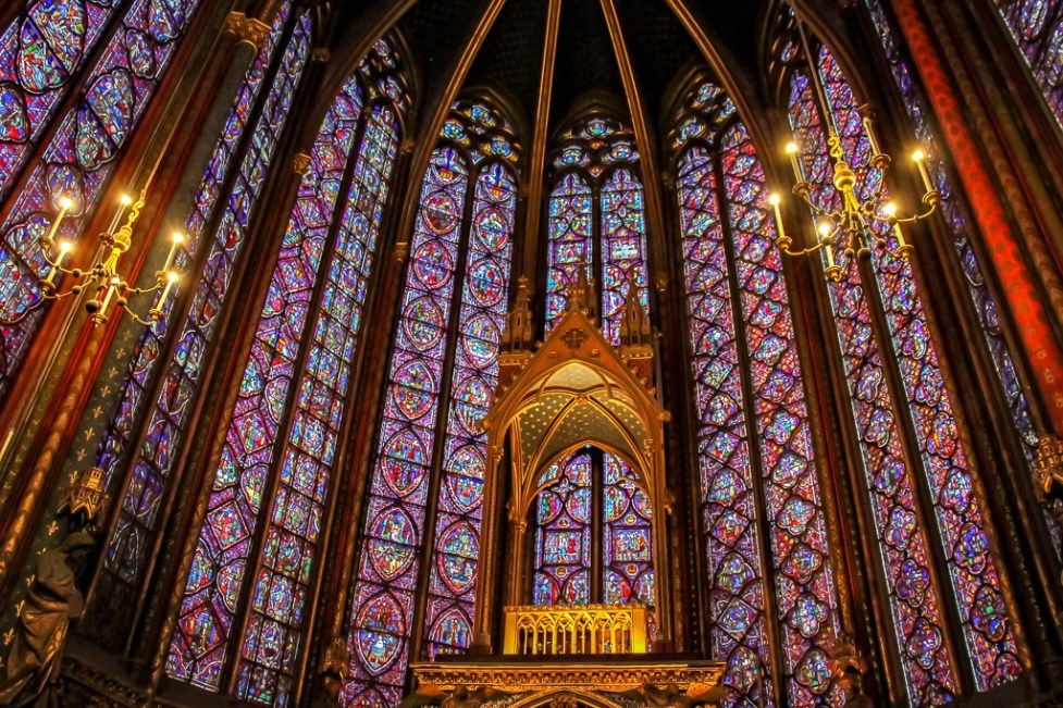 Stained-glass windows in Sainte-Chapelle in Paris, France