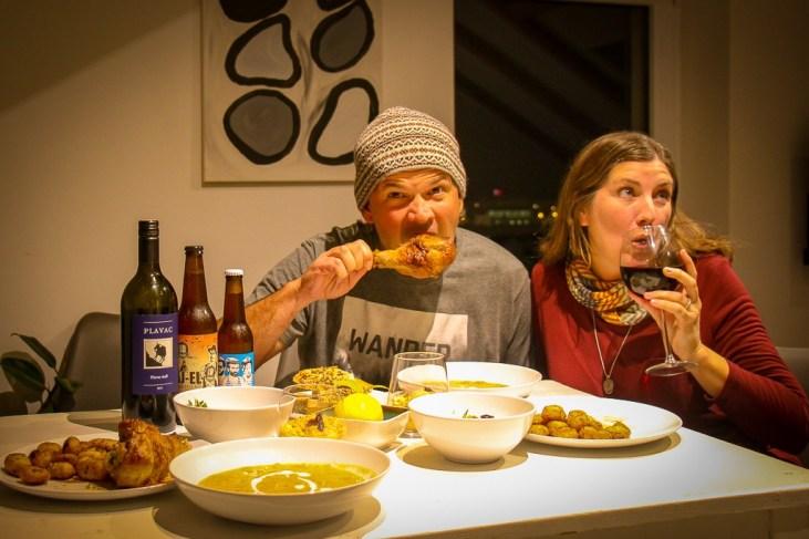 Eating Turkey Legs from Bartulovic restaurant for Thanksgiving Dinner