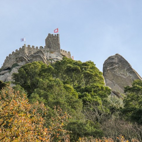 Views of Moorish Castle from Sintra, Portugal