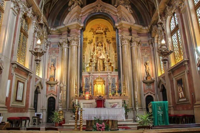 Colorful Altar, Church of Saint Anthony of Lisbon, Portugal