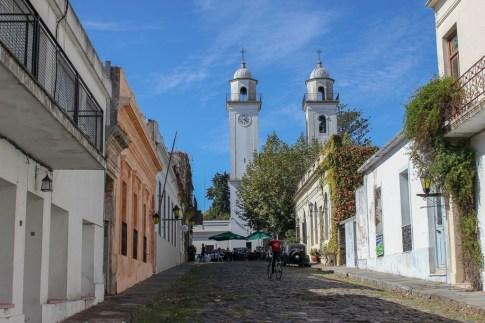 Street leading to the basilica in Colonia del Sacramento, Uruguay