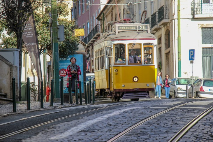 Tram 28 makes it way through Lisbon, Portugal