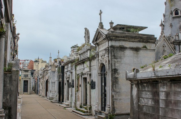 Path along mausoleums at Recoleta Cemetery in Buenos Aires, Argentina
