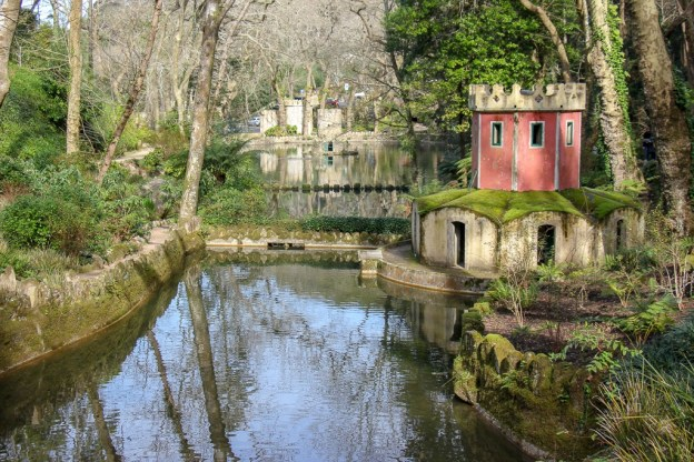 Valley of the Lakes Duck House at Pena Palace Park in Sintra, Portugal