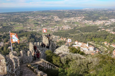 Views from Royal Tower at Moorish Castle in Sintra, Portugal