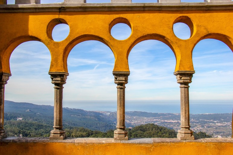 West-facing views from balcony at Palace of Pena in Sintra, Portugal