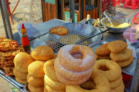 Fresh donuts at Central Market in Hoi An, Vietnam