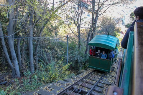 Funicular to summit of Cerro San Cristobal in Santiago, Chile