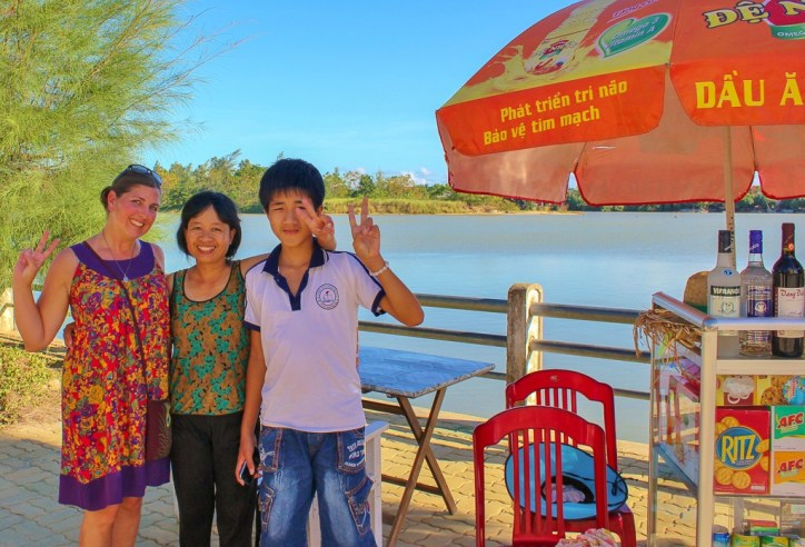 Sarah, Mrs.. Ha and her son in Hoi An, Vietnam