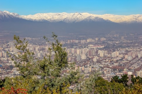 Mountain and city views from Cerro San Cristobal in Santiago, Chile