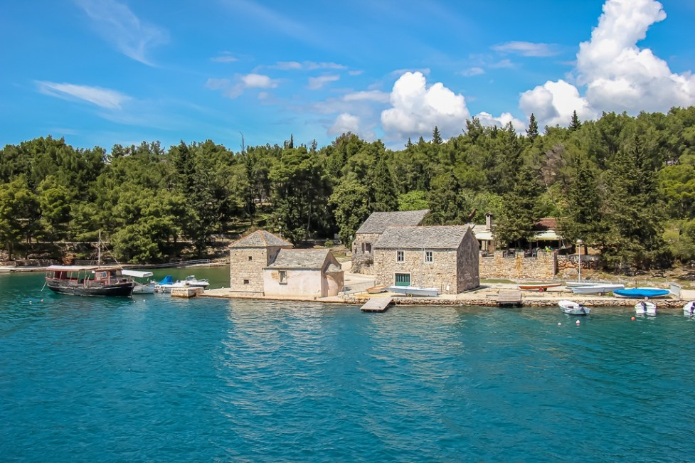 Sailing into Stari Grad port on Hvar Island on Croatia Island Hopping Cruise