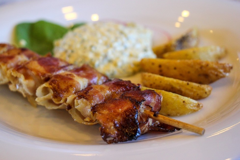 Bacon-wrapped chicken skewers lunch aboard Almissa Ship on Sail Croatia Cruise
