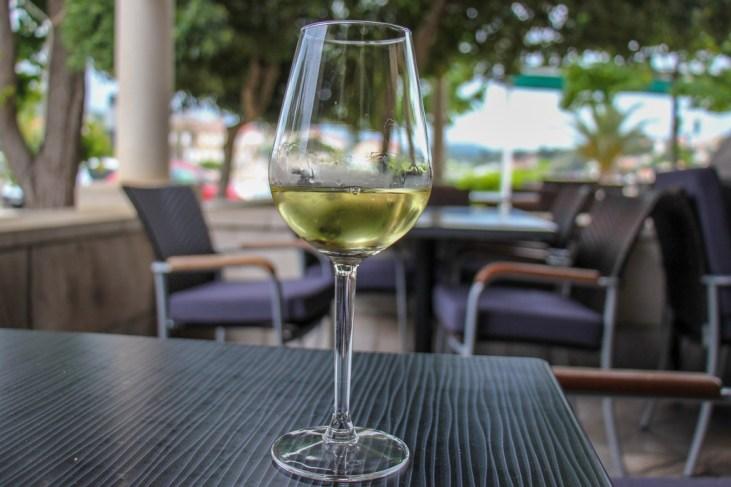 Grk Wine at cafe in Lumbarda, Korcula Island, Croatia