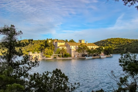 St. Mary's Island Monastery in Great Lake in Mljet NP, Croatia