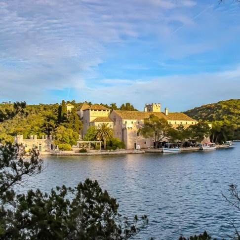 St. Mary's Island Monastery in Great Lake in Mljet NP, Croatia