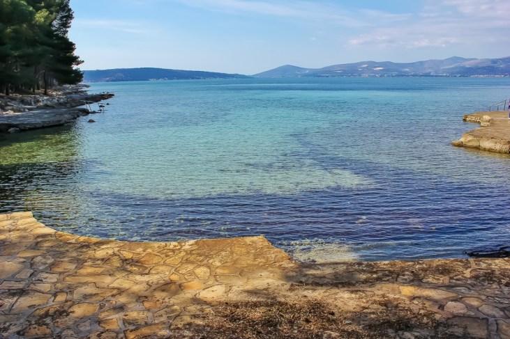 Clear water at Bene Beach in Split, Croatia